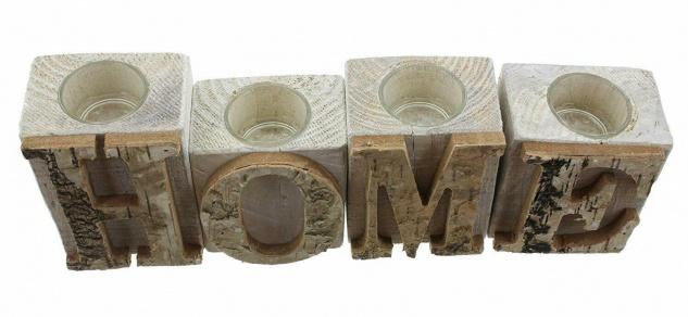 """4tlg. Teelicht Halter Set """" Home"""" aus Holz & Glas, Kerzen Ständer Windlicht - Vorschau 4"""