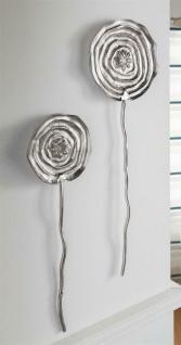 "2er Set Wand Deko "" Blume"" Metall Bild aus Alu, silber, moderner Schmuck Hänger - Vorschau 1"