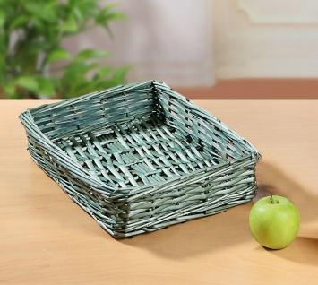 Brot Körbchen aus Weide, grün, eckig, Flecht Aufbewahrungs Korb Obst Schale