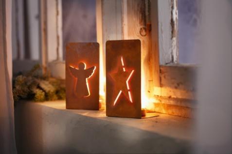 2er Teelicht Halter 'Engel & Stern? Metall Kerzen Ständer Windlicht Weihnachten