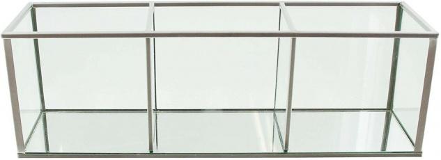 Glas Setzkasten mit Spiegel Boden, 3 Fächer, Deko Vase, Windlicht Kerzen Halter