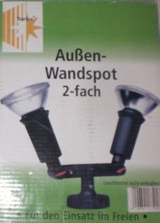 2 fach Außen Wand Leuchte Doppel Strahler Spot Lampe Hof Garten Weg Beleuchtung