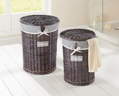 "Wäsche Korb Set "" Laundry"" aus Weide grau, Landhaus Stil, Sammler Truhe Box Tonne"