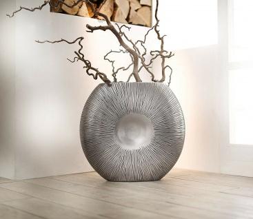 große Design Boden Vase in silber, 50 cm hoch, Innen + Außen, Garten Balkon XXL
