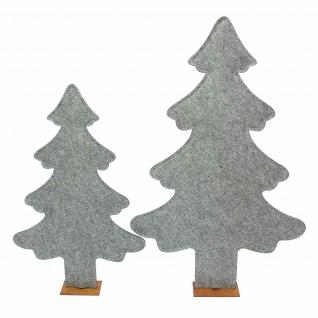 2er Set Deko Tanne aus Filz, grau, 82 + 63 cm hoch, Tannen Weihnachts Baum - Vorschau 3