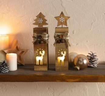 """2er Set LED Säule """" Rentier"""" aus Holz, Weihnachts Winter Deko Windlicht Kerze - Vorschau"""