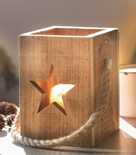 Windlicht Laterne Upcycling Holz & Glas 19 cm hoch Deko Shabby Vintage Teelicht - Vorschau 1