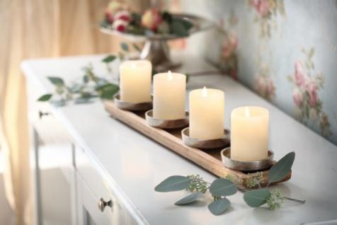 Kerzenboard 'Mangoholz? Holz Kerzen Halter Ständer Weihnachten Deko Antik-Look