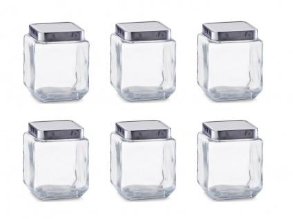 6x Zeller Vorrats Glas 1100 ml eckig mit Alu Deckel, Aufbewahrung Dose Behälter