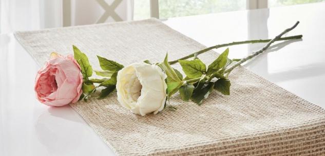 "2x Kunst Blume "" Pfingstrose"" 80cm lang, creme + rose, künstliche Deko Blüten"
