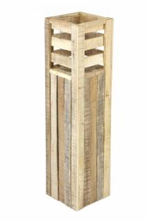 """Windlicht Säule """" Wood"""" aus Holz + Glas, groß, 80 cm hoch, Kerzen Ständer Halter"""