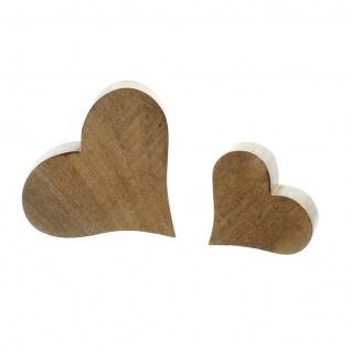 2 Herzen aus Mango Holz, Tisch Deko Figur Herz Skulptur Objekt Set - Vorschau 2