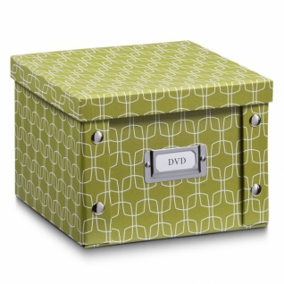 """2x Zeller Aufbewahrung Box mit Deckel """" Texture"""" pistazie für 26 DVD Kiste Karton"""