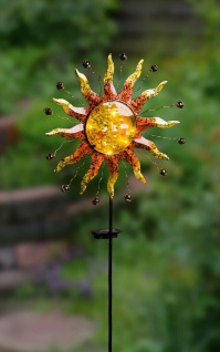 """Solar Stecker ?Sonne"""" Glas Metall Garten Deko Lampe Strahler Beet Sticker"""