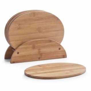 6 Zeller Frühstücks Brettchen aus Bambus Holz mit Ständer, Brotzeit Vesper Brett
