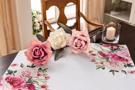 3 XXL Rosen Ø 17 x 90 cm hoch, weiß + rose, Kunst Blumen Blüten Hochzeit Deko