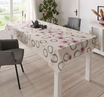 """Tafeldecke """" Purple Circle"""" beige, 135x240 cm, Tisch Decke Tafel Tuch Wäsche"""