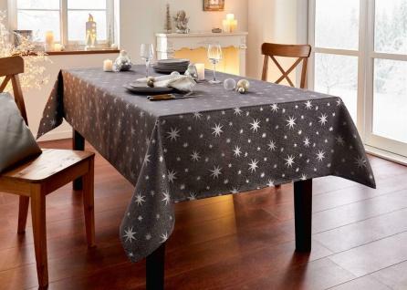 """Tafel Decke """" Silbersterne"""" 140x240 cm dunkel grau glänzend, Sterne, Tisch Tuch"""