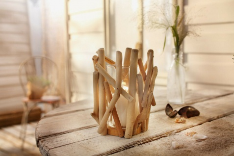 """Windlicht ?Maritim"""" Holz natur Glas Garten Deko Kerzen Teelicht Halter Ständer"""