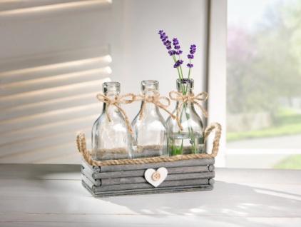 """VASEN SET """" Heart"""" mit 3 GLAS VASEN auf HOLZ TABLETT Shabby Blumen Vase Deko"""