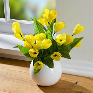 2x Krokus Bouquet gelb, 36 cm hoch, Kunst Blumen Strauss, künstliche Pflanzen