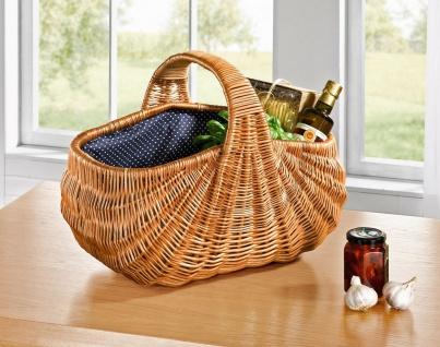 großer Einkaufs Korb aus Weide, extra robust, Textilfutter blau, Picknick Auto