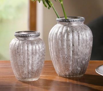 2er Set Vase Eleganz 11 & 13 cm klein oval silber Glas, Tisch Blumen Deko Design