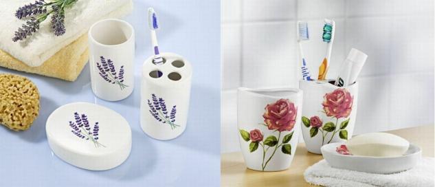 3 tlg Keramik Bad Set Blumen Motiv Seifenschale Zahnputzbecher Zahnbürstenhalter