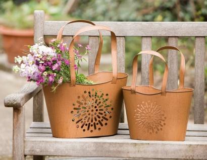 2x Deko Tasche aus Metall in Rost Optik, Blumen Über Topf, Garten Windlicht