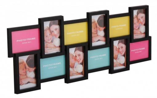 WL Wohnling Bilder Rahmen schwarz für 12 Fotos 10x15, Multi Collage Wand Galerie