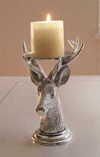 """Kerzen Halter """" Hirsch"""" silber, 19 cm hoch, Windlicht Ständer Teelicht Leuchter"""
