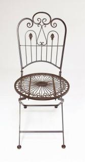 """Metall Klappstuhl """" Provence"""" im Antik Design Nostalgie Eisen Garten Balkon Stuhl - Vorschau 5"""