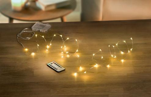 LED Leucht Draht 40 Lichter für Innen + Außen, Batterie, Weihnachten Kette Deko