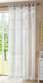 Deko Schal weiß im Landhaus Stil 140x250 Leinen Optik, Schlaufen Gardine Vorhang