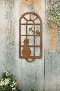 """Wand Deko """" Katze & Fenster"""" aus Metall, Braun, Natur Wand Schmuck Hänger Bild - Vorschau 5"""