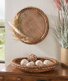 große Bambus Schale rund Ø 40, braun, Obst Gebäck Brot Deko Tisch Servier Teller