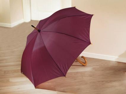 Automatik Regenschirm dunkel rot Ø 110cm, Holzgriff, Stockschirm Automatikschirm