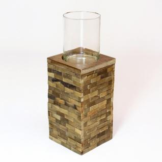 Windlicht 'trend-look' Klein Aus Holz Mit Glas Einsatz Kerzen Teelicht Halter - Vorschau 2