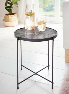 Beistelltisch mit Glas Platte in Marmor Optik, Kaffee Servier Couch Sofa Tisch