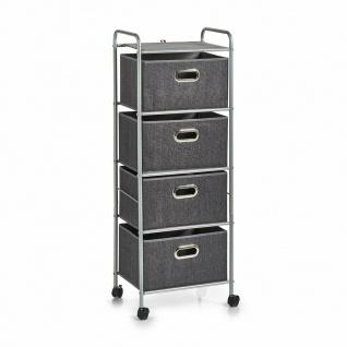 Zeller Metall Regal auf Rollen mit 4 Vlies Schubladen, grau, Bad Küche Büro