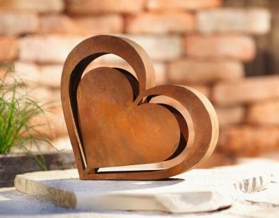 Herz aus Metall in Rost Optik, 23x21 cm, Garten Hochzeit Deko Grab Schmuck