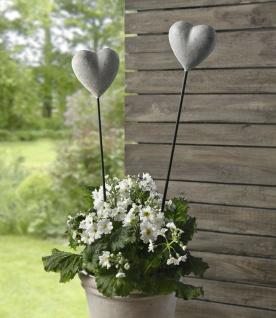 """2er Set Blumen Stecker """" Herz"""" in Beton Optik, grau, Pflanzen Deko Sticker"""