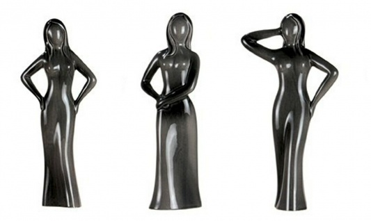 """3 Stück Gilde Franics Skulptur """" Kesser Schönheit"""" grau Frau Statue Figur Design"""