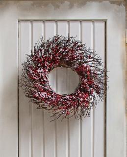 Kranz aus Weide Ø50 cm mit roten Beeren tlw. geeist, Advent Winter Tür Wand Deko