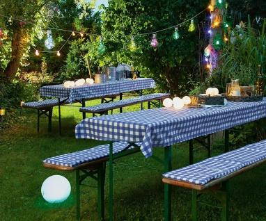 Bier Garten Garnitur 2x Bank Auflage + Tisch Decke blau weiß kariert, Fest Zelt
