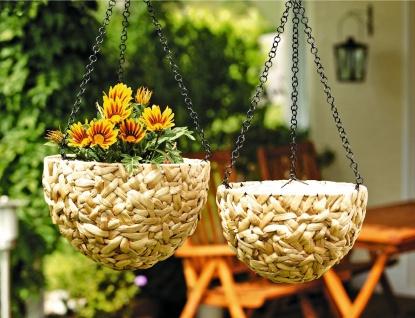 2er Set Blumen Ampel aus Wasserhyazinthe mit Metall Kette Hänge Pflanz Topf
