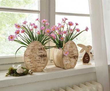 """2 Pflanzer """" Osterei"""" aus Holz + Jute 18 cm hoch, Blumen Pflanz Topf Kübel Schale"""