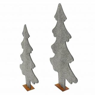 2er Set Deko Tanne aus Filz, grau, 82 + 63 cm hoch, Tannen Weihnachts Baum - Vorschau 4