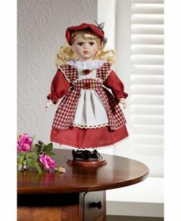 Porzellan Puppe 30cm hoch mit Kleid + Schürze rot-weiß + Ständer, Deko Figur