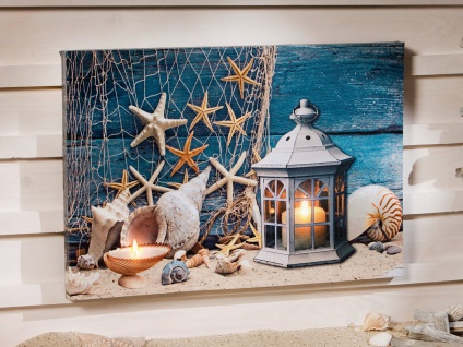 """LED Bild """" Maritim"""" 60x40 cm Deko Leinwandbild Wandbild Wanddeko Kerze beleuchtet"""